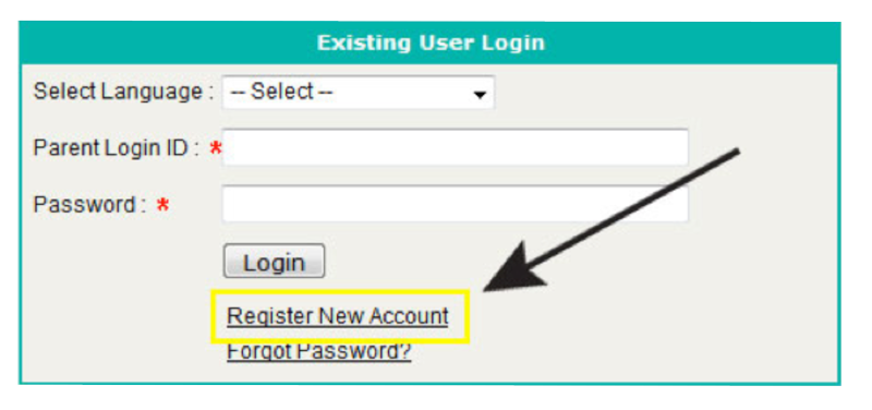 Enrollment login screenshot