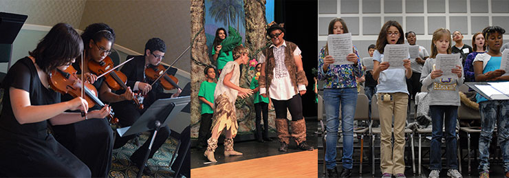 3 images: (1) Three students sit and play violin; (2) students perform a play; (3) Students sing in the chior