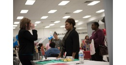Future teachers interviewing during the Spring Teacher's Job Fair.