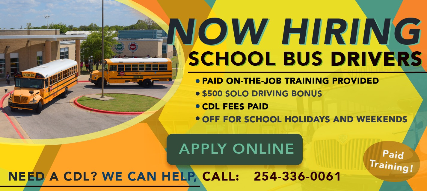 Bus Driver Job Opening Promo: a picture of 2 school buses in front of a school, with the text that reads we're hiring bus driver's now.