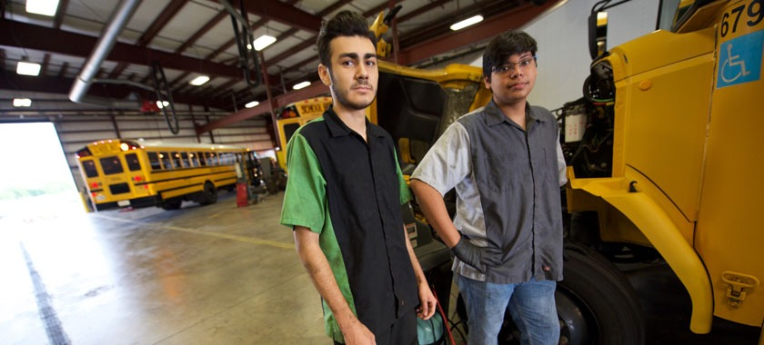 Career Center automotive students working in KISD transportation