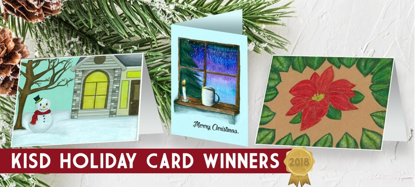Picture of 3 holiday cards that were drawn by KISD students.