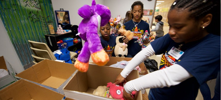 Saegert students clean school, donate toys