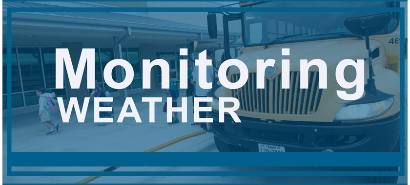 Monitoring Weather blue banner with school bus in the background.