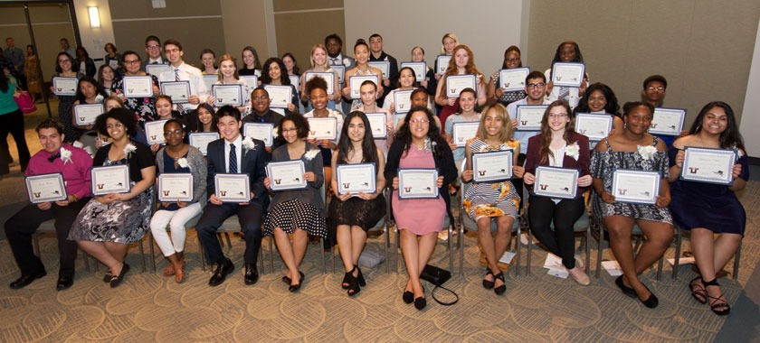 Scholarship winners pose during 2018 event