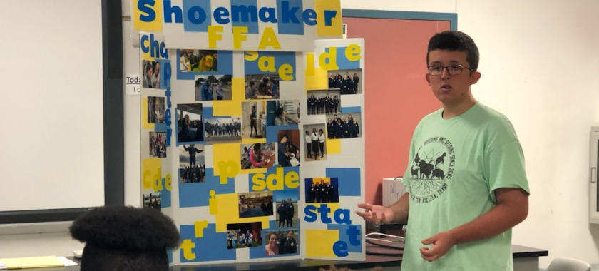 Sean Chavez presents to Shoemaker students on why they should join FFA
