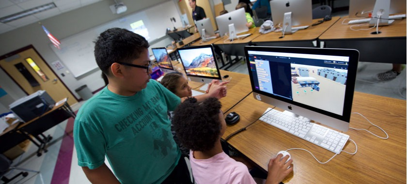 Fifth-grade computer coding team at Cavazos Elementary