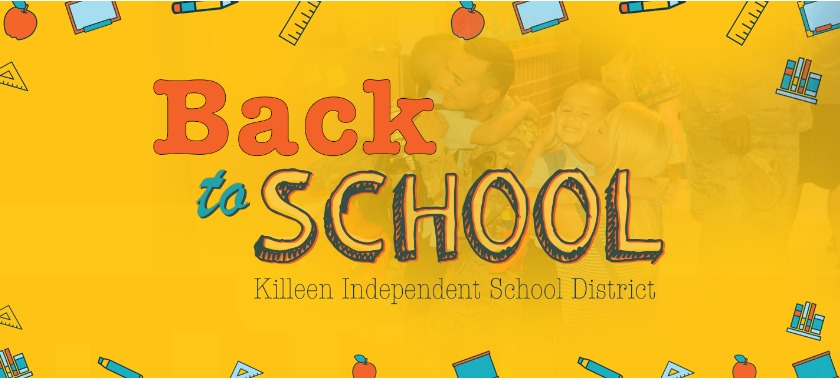 Back to school text over yellow background.