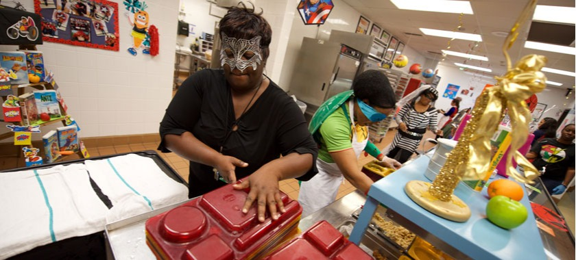 School cafeteria workers dress the part as superheroes