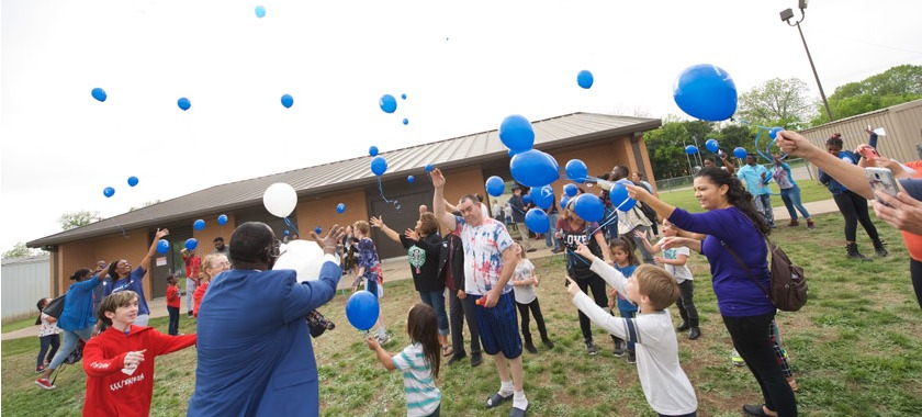 CIS balloon release at East Ward for child abuse awareness