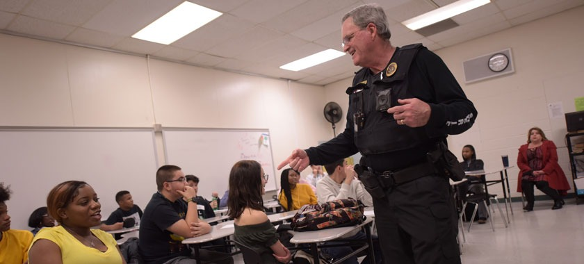 Bell County Sheriff Eddy Lange speaks in criminal justice class