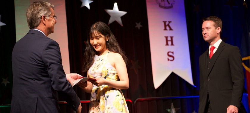 HHHS senior Jeesoo Min at Starmakers Banquet
