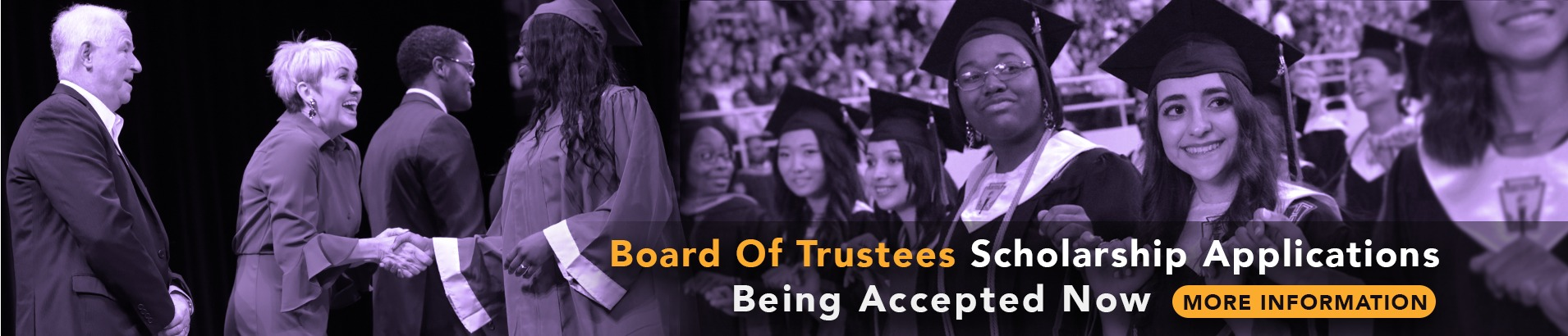 Board of Trustees scholarship web banner, pictures of students on graduation day while the Board Members congratulate them!