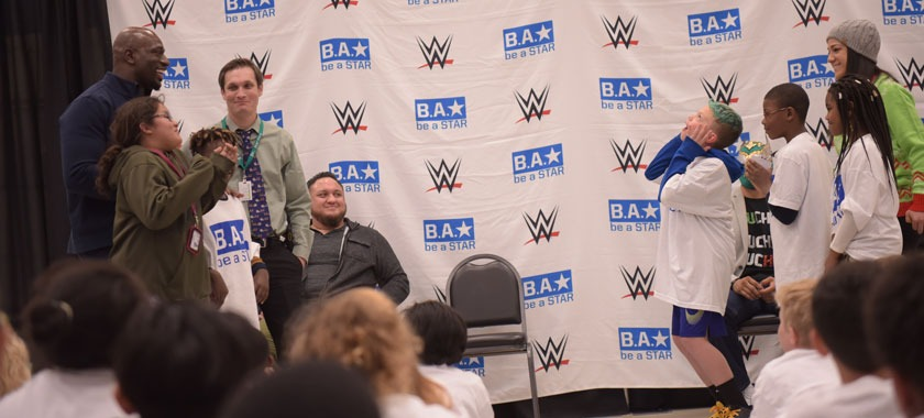Wrestling stars urge Meadows students to be kind