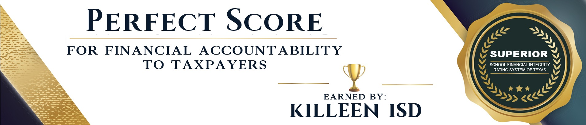Perfect Score for financial accountability banner