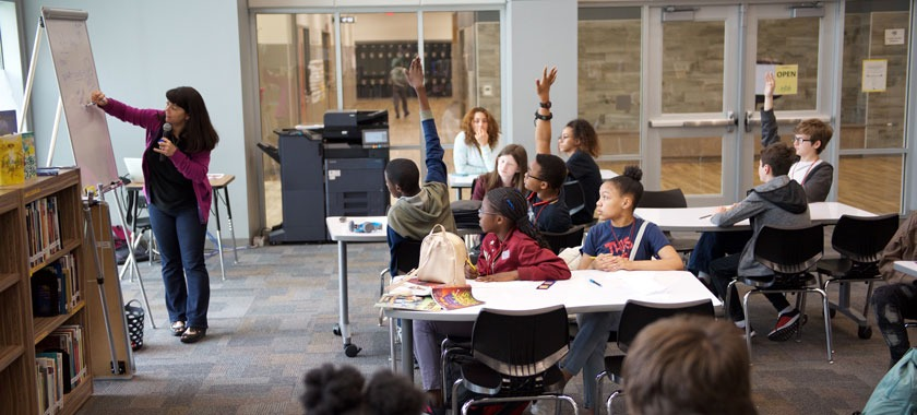 Author Nikki Loftin presents to Smith seventh-graders