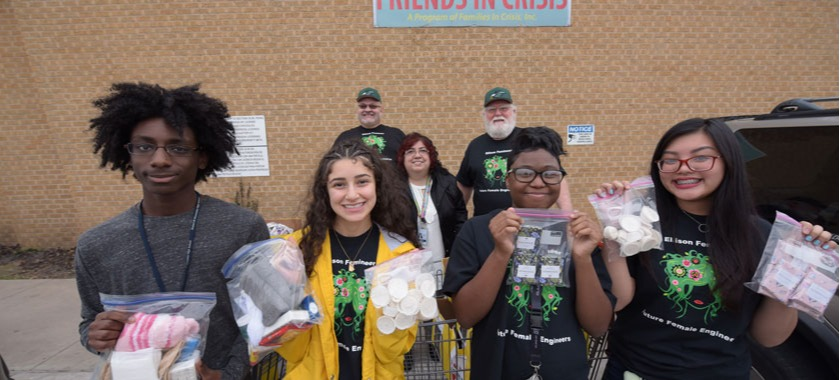 Ellison, Shoemaker groups deliver soap to shelter