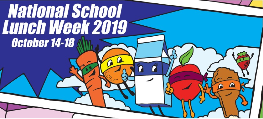 National School Lunch Week 14-18 October, picture of animated fruits dressed up as superheroes.