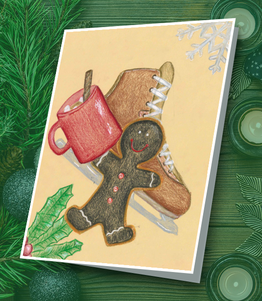 Student drawing of ice skates, coffee mug and gingerbread cookie.
