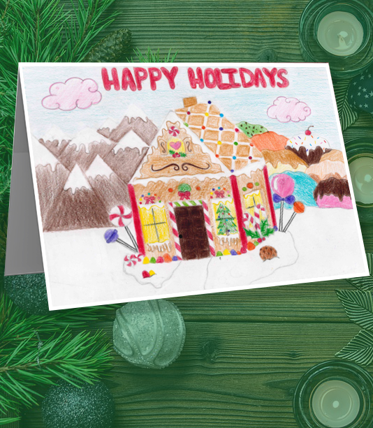Student drawing of a Christmas Gingerbread house with the text that says Happy Holidays