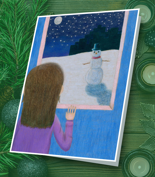 Student drawing of a girl looking out of a window to a winter night time scene with snow, stars and a snowman looking back at her.