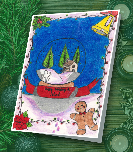 Student drawing of a snow globe with a gingerbread man