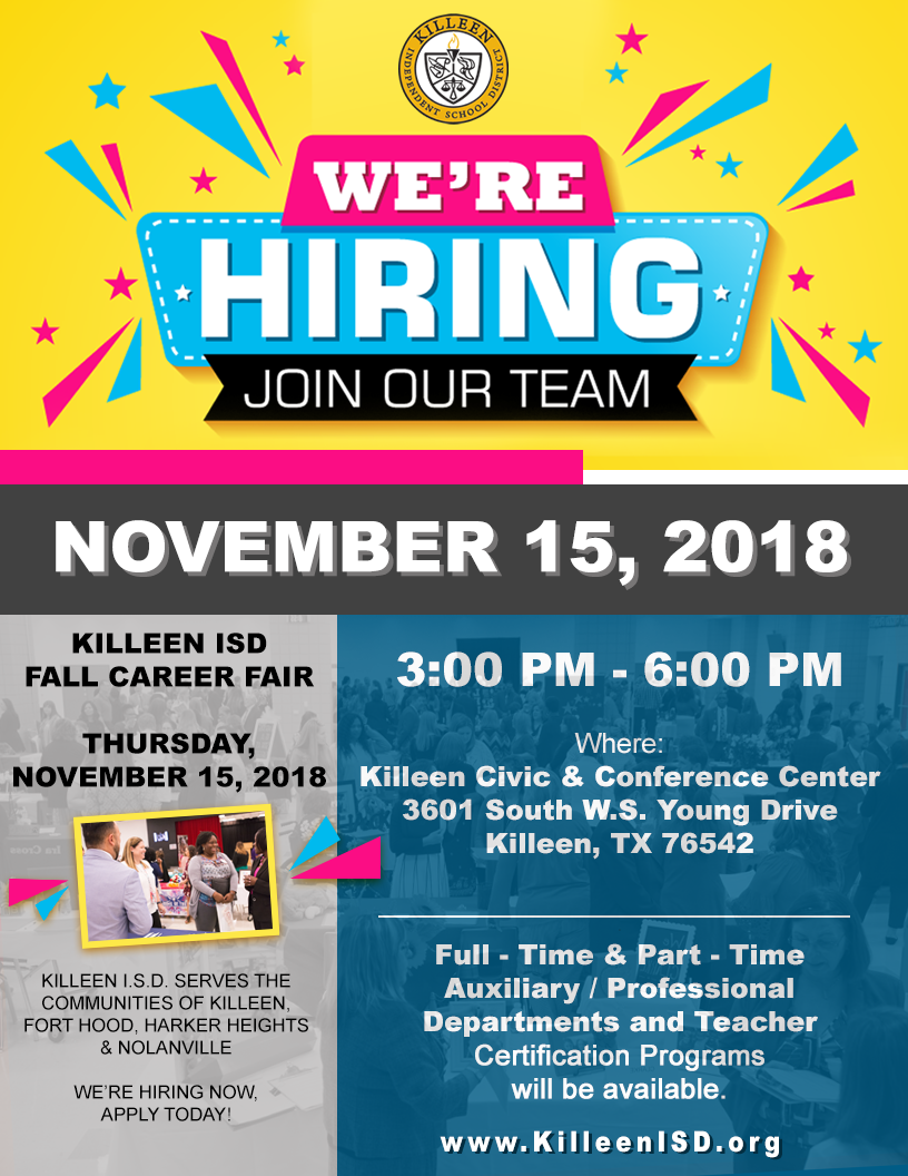 Fall Career Fair Web Banner with yellow background and blue and pink confetti bursting out of the We Are Hiring sign.