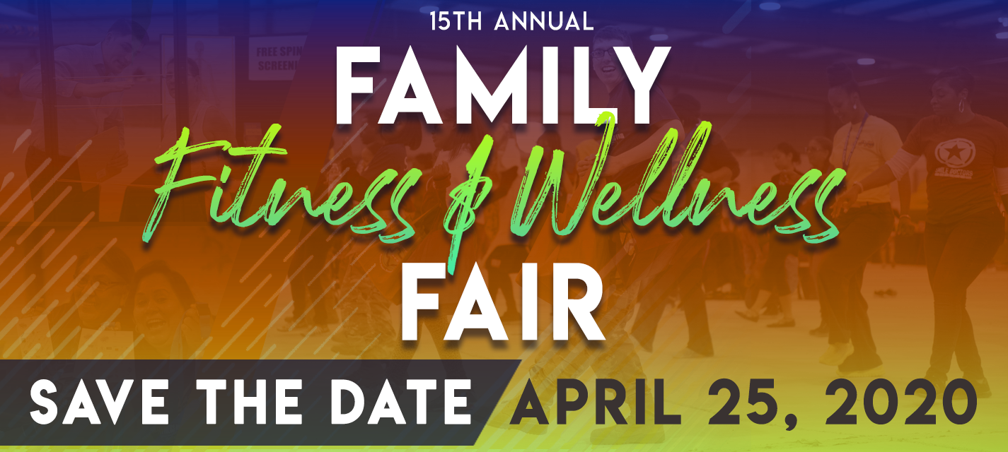 Family Fitness and Wellness Fair web banner: text reads Save the Date, April 25, 2020