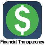 Dollar symbol inside of a green circle with a blue rounded square background.