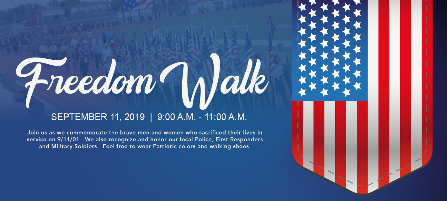 Freedom Walk, USA Flag Text reads: September 11, 2019 from 9 am - 11 am.