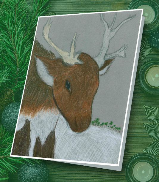 Student drawing of a reindeer.