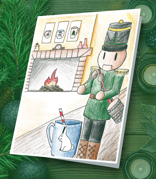 Student drawing of nutcracker in front of a lit fireplace, a winter coffee cup and frames of coffee cups on the wall behind the nutcracker.