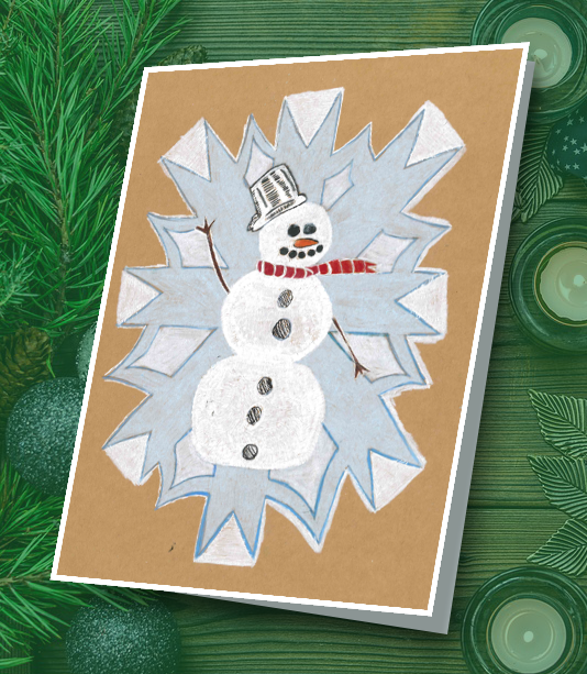 Student drawing of a snowman in front of a snowflake