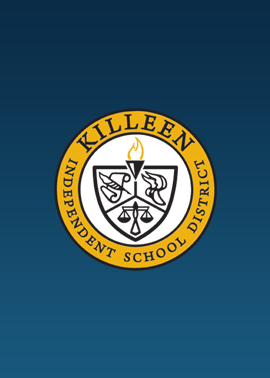 Blue colored rectangle with Killeen ISD logo in the center
