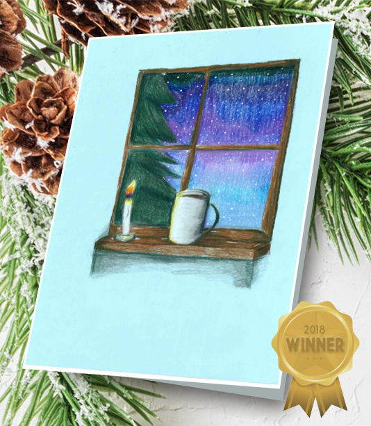 Student drawing of a window looking out a snowy winter scene with a coffee cup on the inside of the window sill.