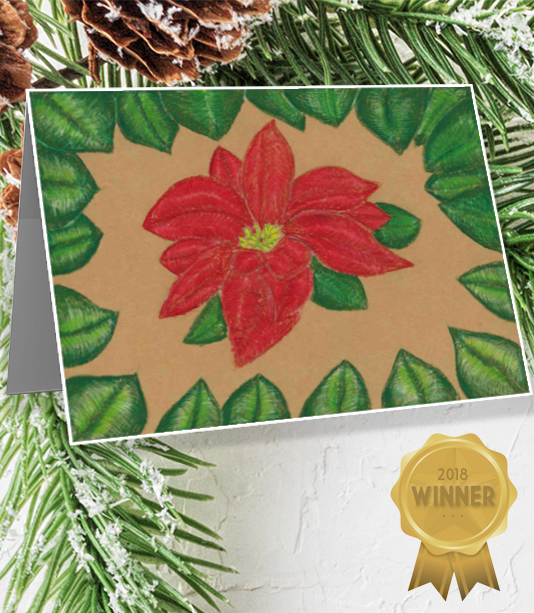 Student drawing of a poinsettia.